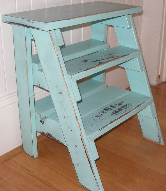 Step Ladder Stool Turquoise Distressed Gift Idea
