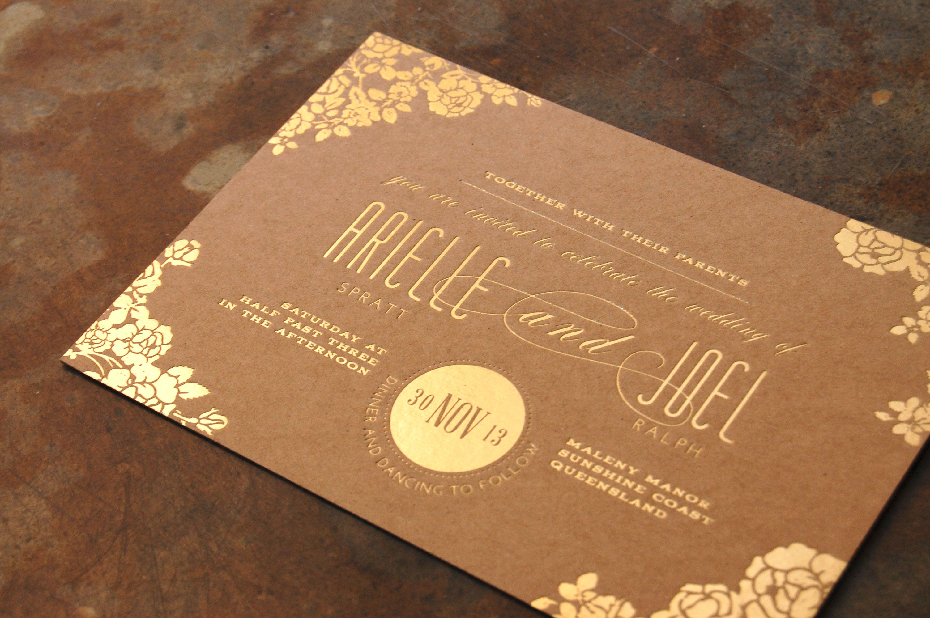 Printing Paper For Wedding Invitations: Gold & Kraft {Gold Foil} {Designed By Little Peach Co