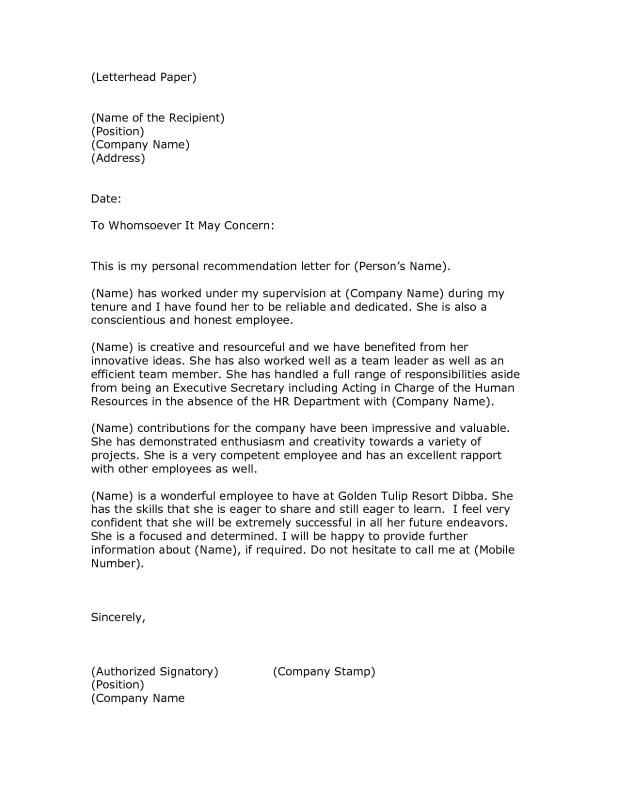 Company Referral Letter Fair Letter Of Reference Format  Template  Pinterest  Reference Letter .
