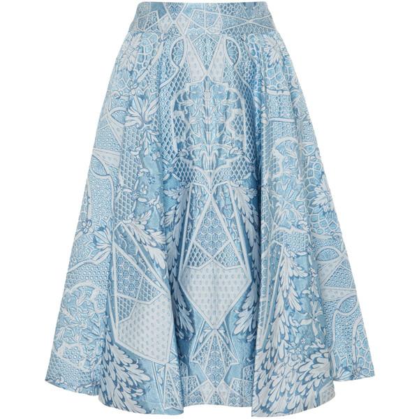 Temperley London Tile Flared Skirt (9,905 MXN) ❤ liked on Polyvore featuring skirts, bottoms, gonne, china blue, geometric skirt, blue skirt, skater skirt, blue circle skirt and geometric print skirt