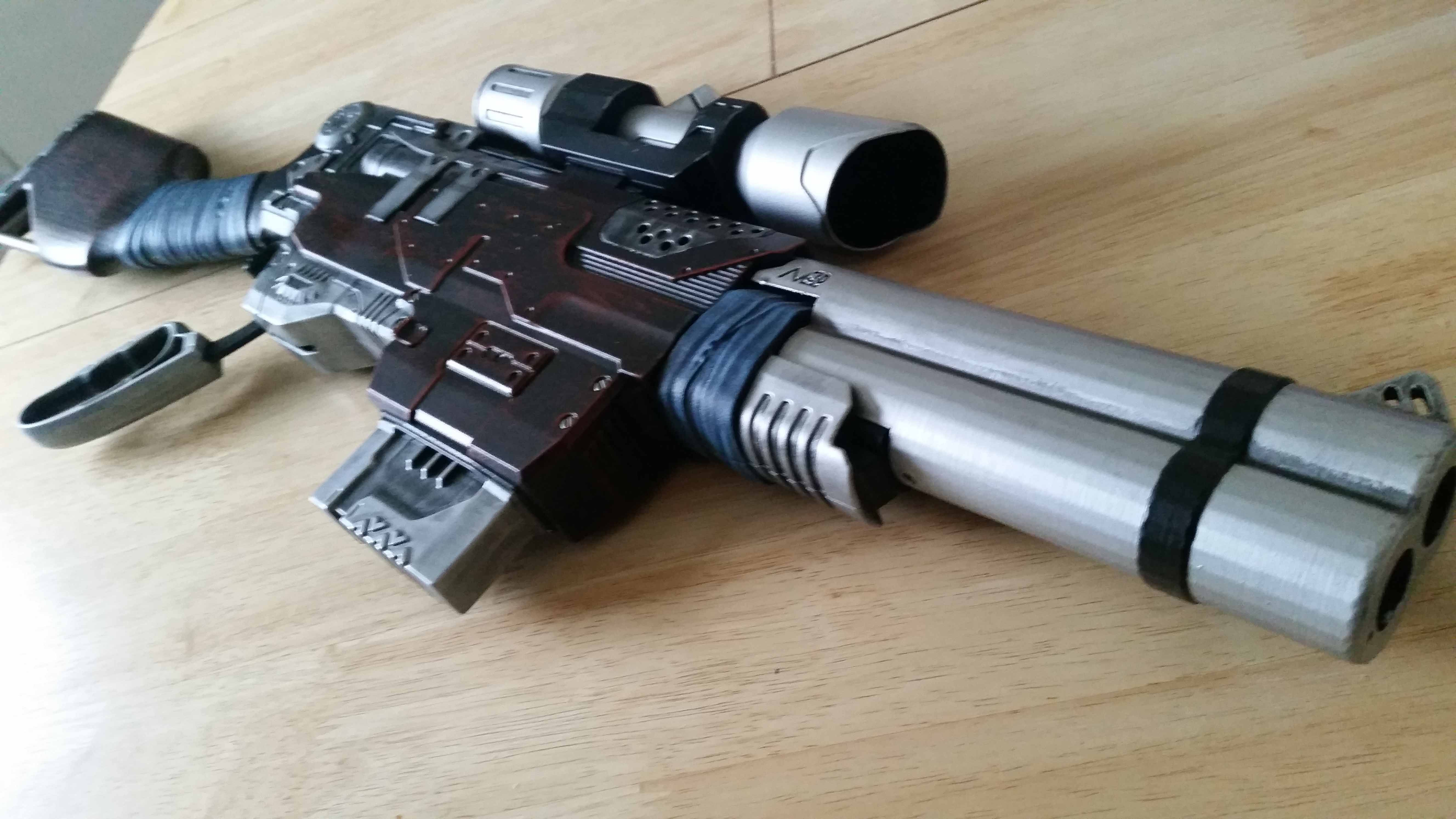 Front view of the Jurassic Park inspired Nerf Slingfire with 3D printed  barrel