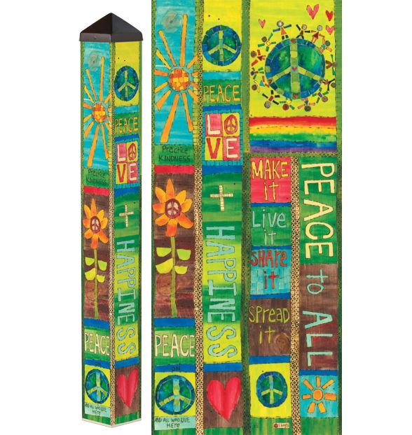 Peace and Love 3 ft Art Pole 4x4, Decorative Painted Peace Garden ...