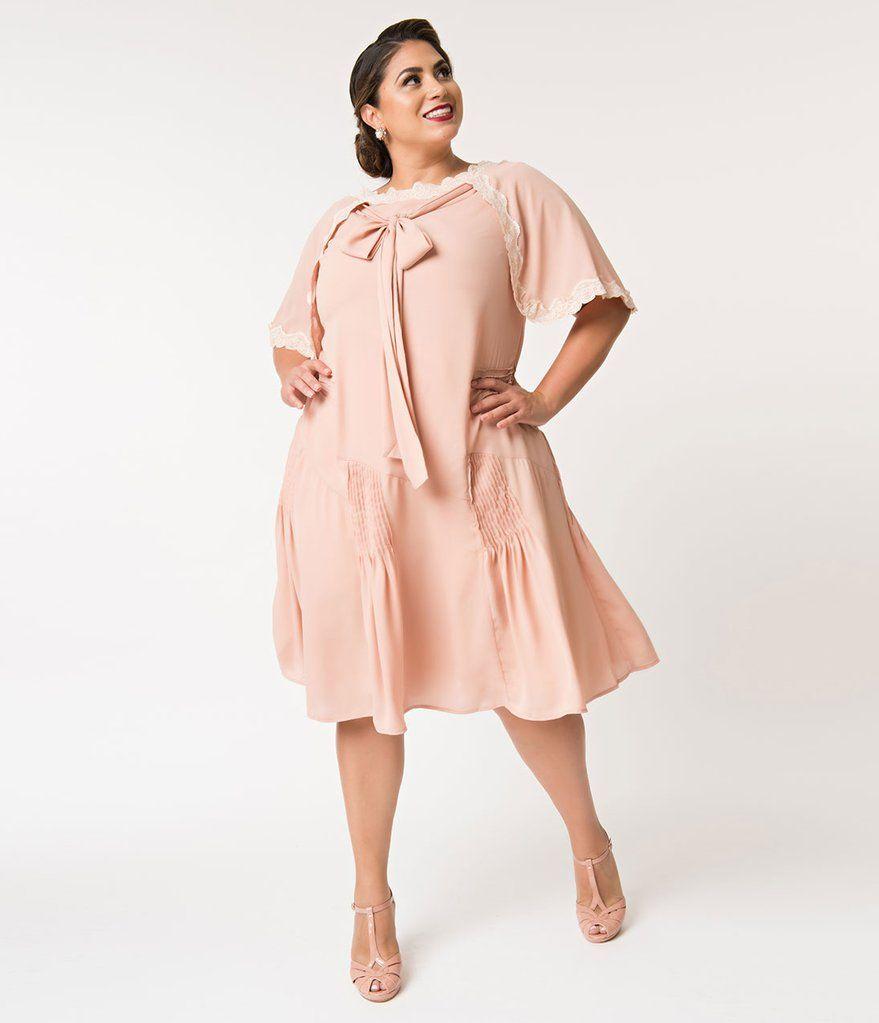 d8922a92c6 Unique Vintage Plus Size 1930s Style Antique Rose Dewitt Day Flapper Dress