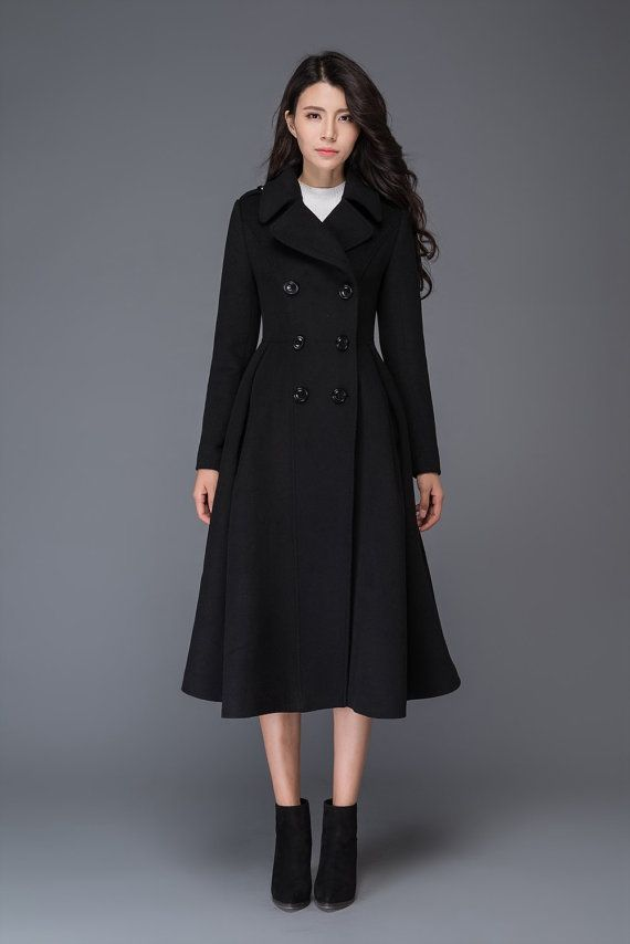Black Wool Coat Uk, Ladies Black Wool Trench Coat Uk