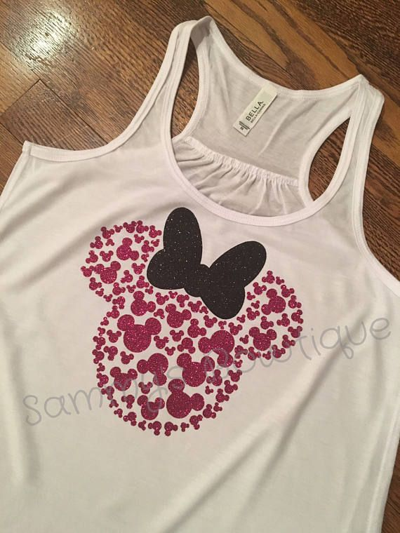 83923ba987137 Womens Minnie Mouse Head with 100 Mickeys Tank Top! Heat transfer high  quality glitter can be made in any color. Leave your color combination  requests in ...