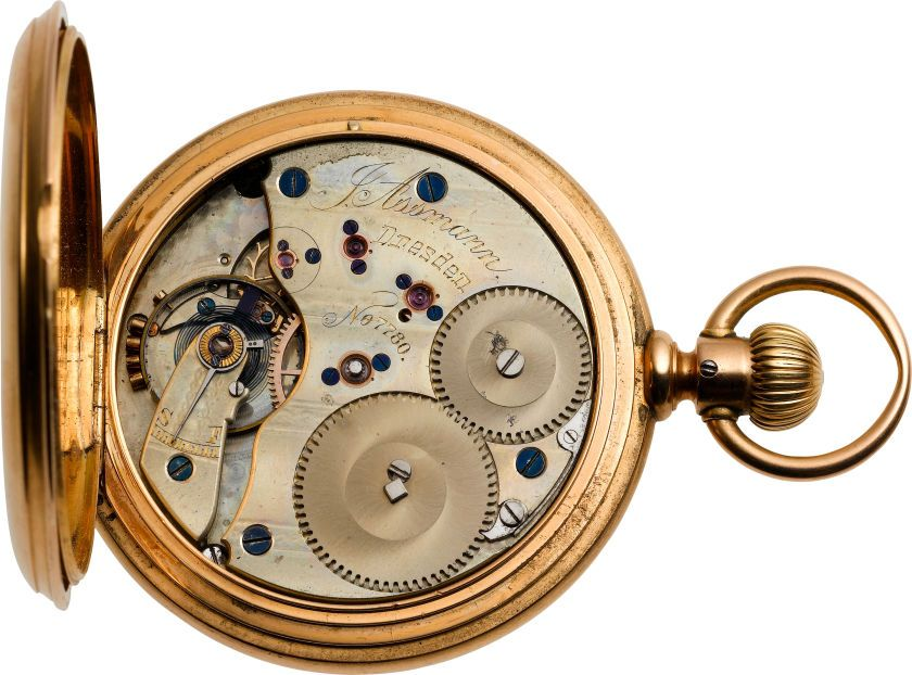 Timepieces:Pocket (pre 1900) , J. Assman Dresden Gold Pocket Watch, circa 1881. ... Image #1