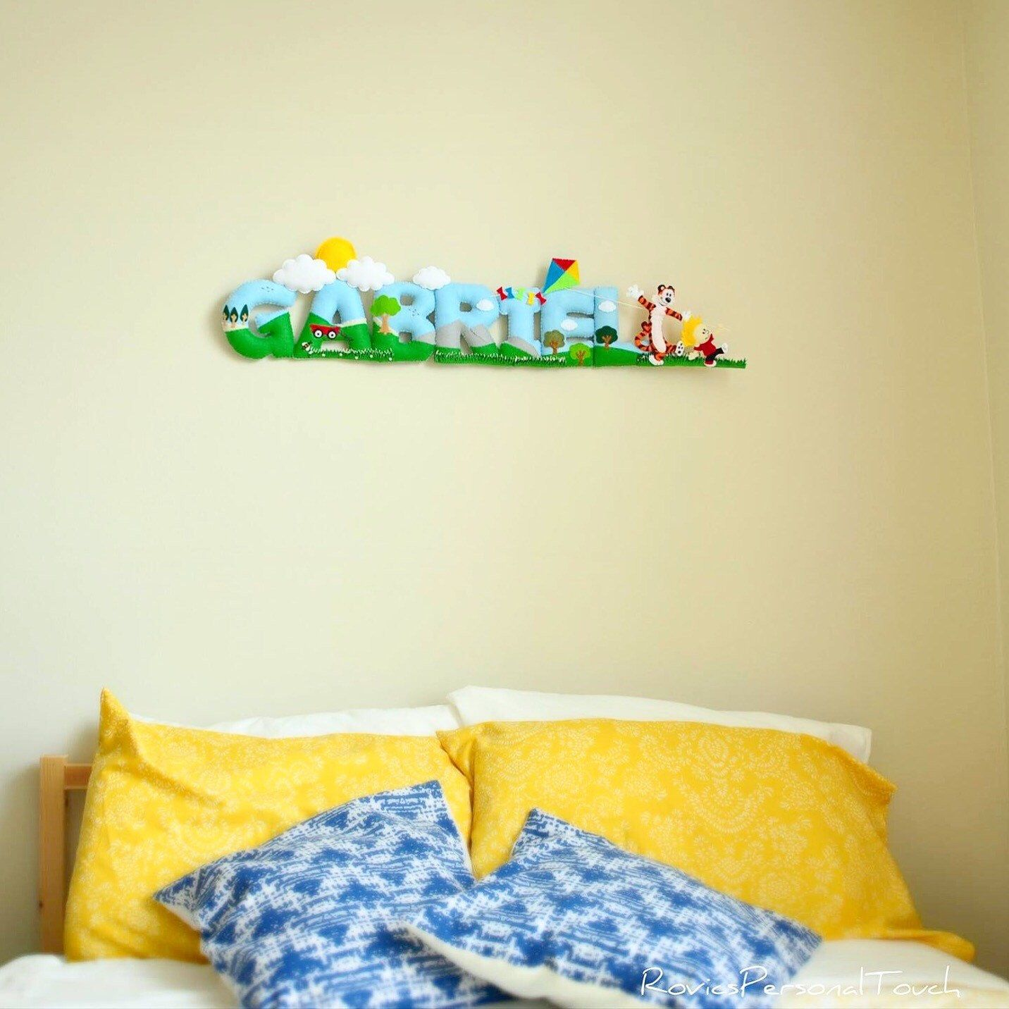 Calvin and Hobbes - Personalized Baby Nursery Name Wall Decor - Hand ...