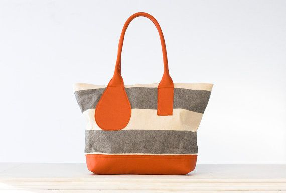 Kallisto bag in stripe canvas and Orange leather by milloo on Etsy, $96.00