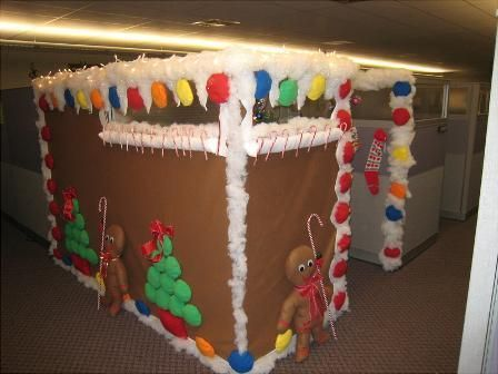 Gingerbread christmas cubicle christmas desk decorations - Work office decorating ideas pictures ...
