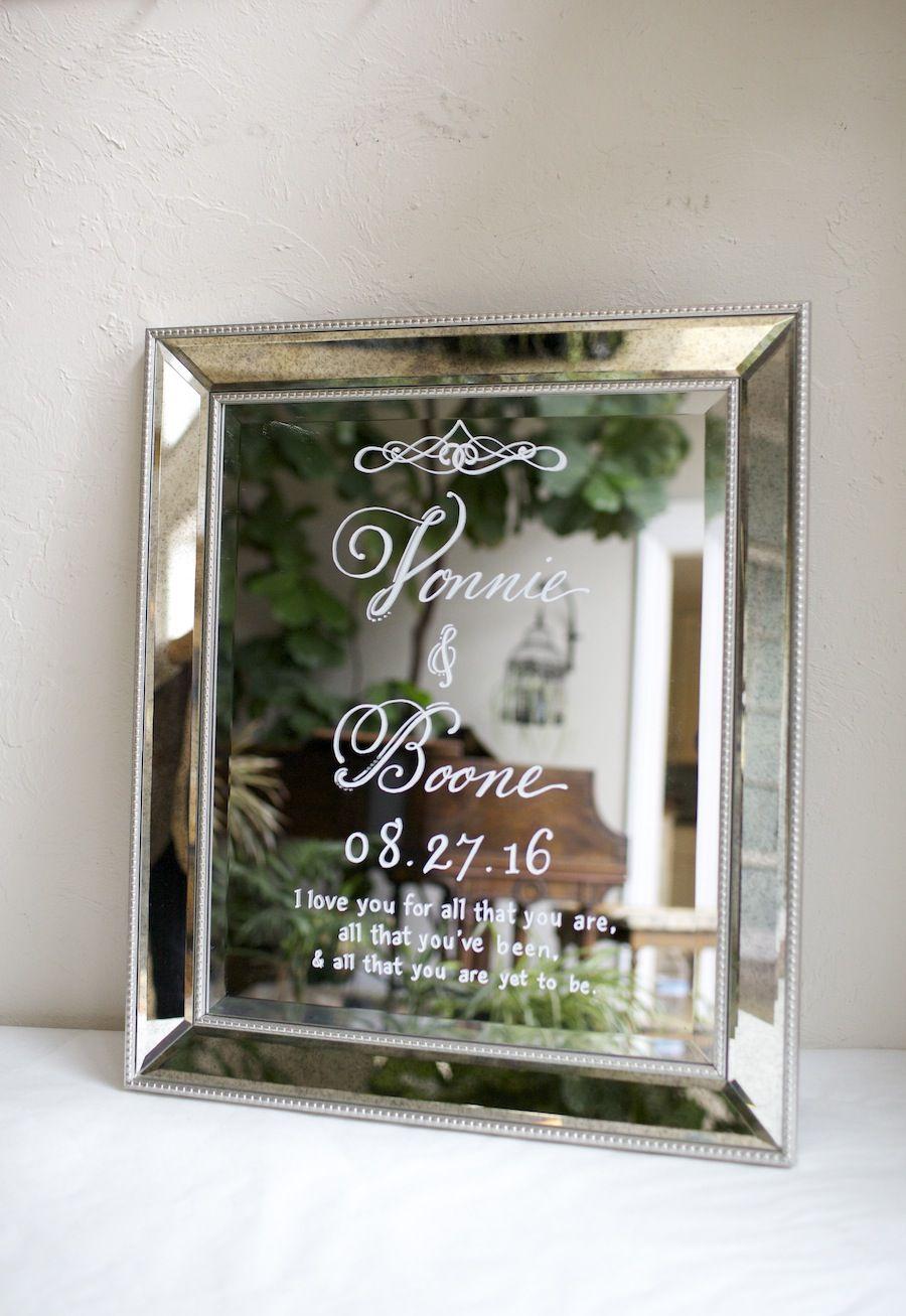 Beautiful mirror framed mirror sign custom painted