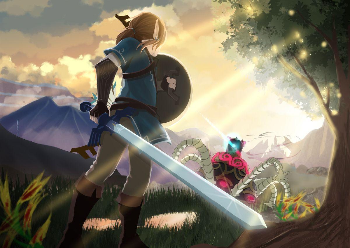 Legend Of Zelda Breath Of The Wild Art Link Guardian