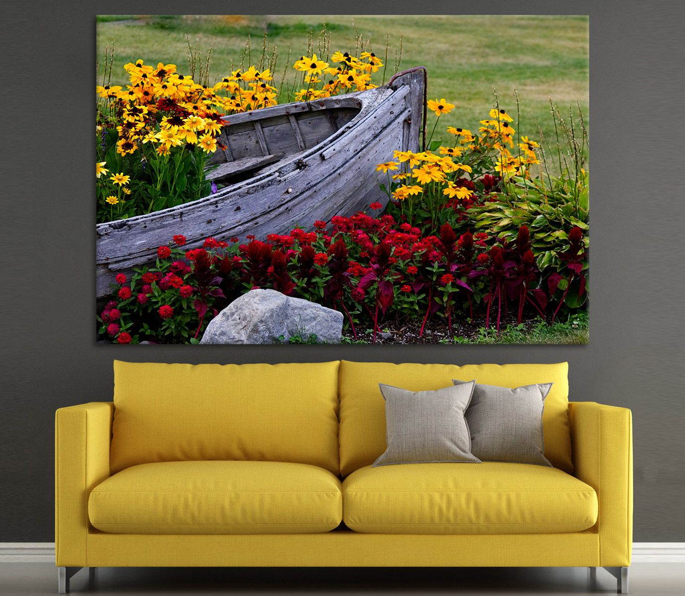 Large nature canvas multicolor photoprint Flowers and a wooden boat ...