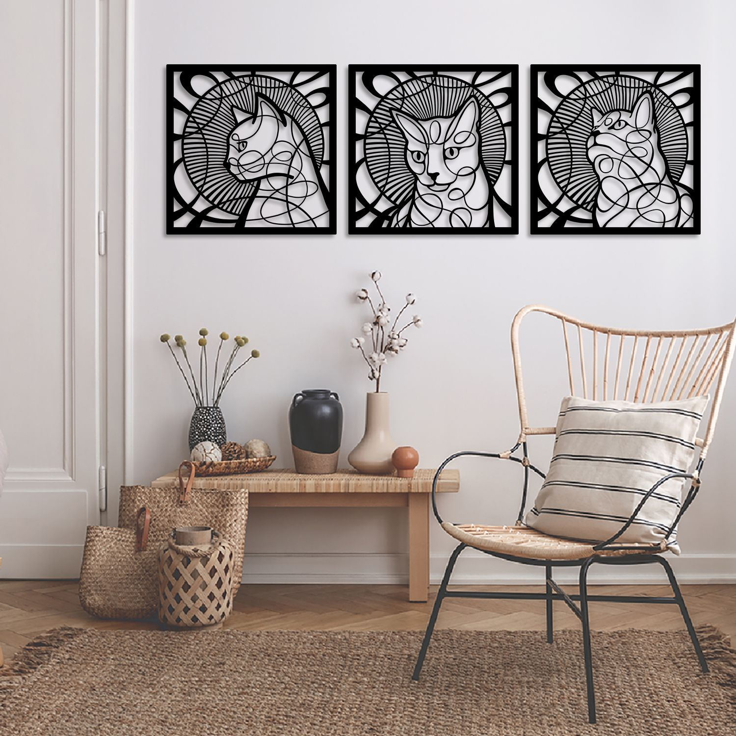 Cat Portraits 3 Set Metal Wall Art Apt301 Black Modern Home Decor Artepera Metal Wall Hangings Cat Wall Cat Wall Art