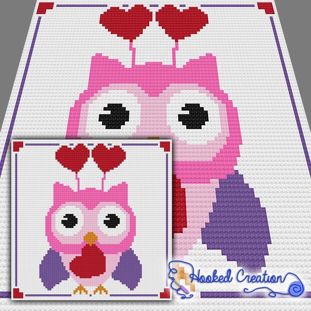 Valentine Hoot C2C Throw Blanket Crochet Pattern | Cobija