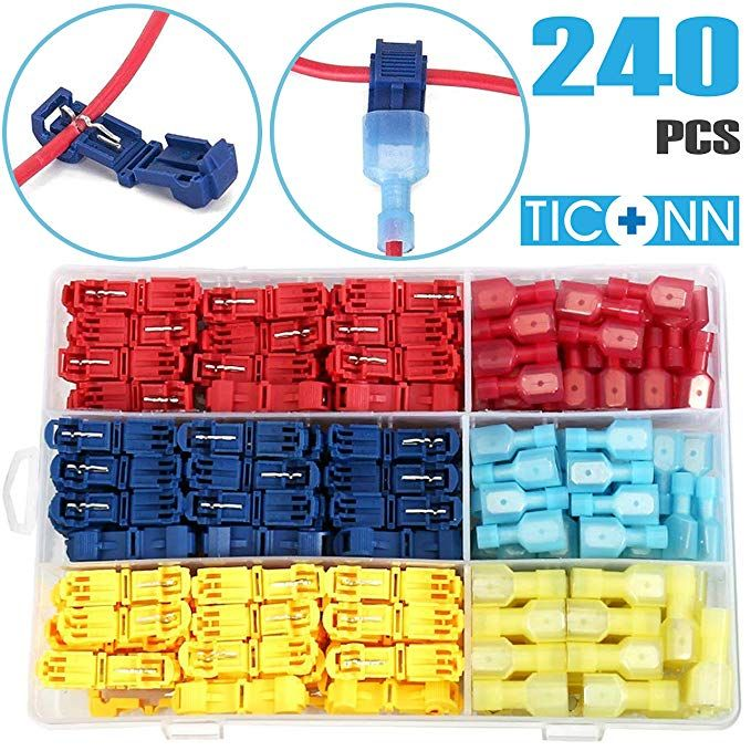 240×Insulated Assortment Electrical Crimp Wire Connector Terminals Spade Set Kit