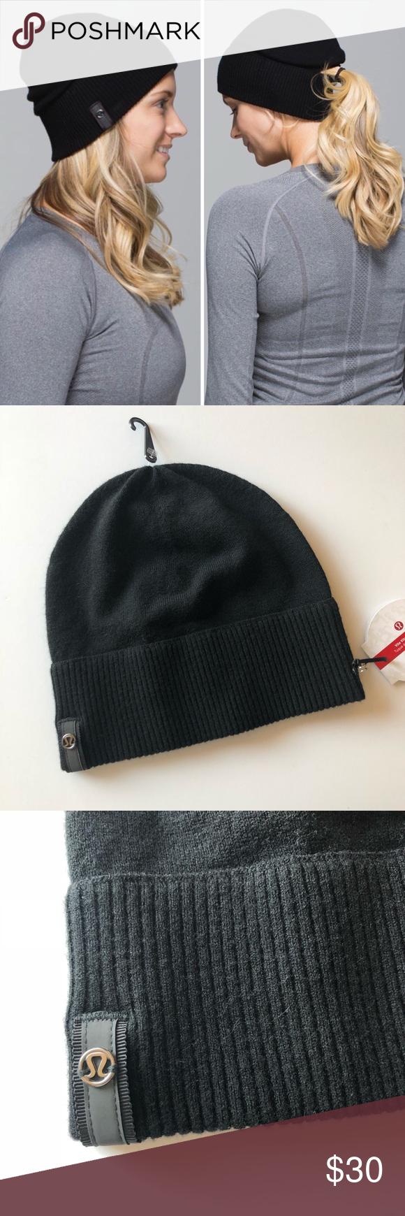 e63c71b688f Lululemon Vite Vite Run Toque ponytail beanie Lululemon black running hat  with an opening for a ponytail