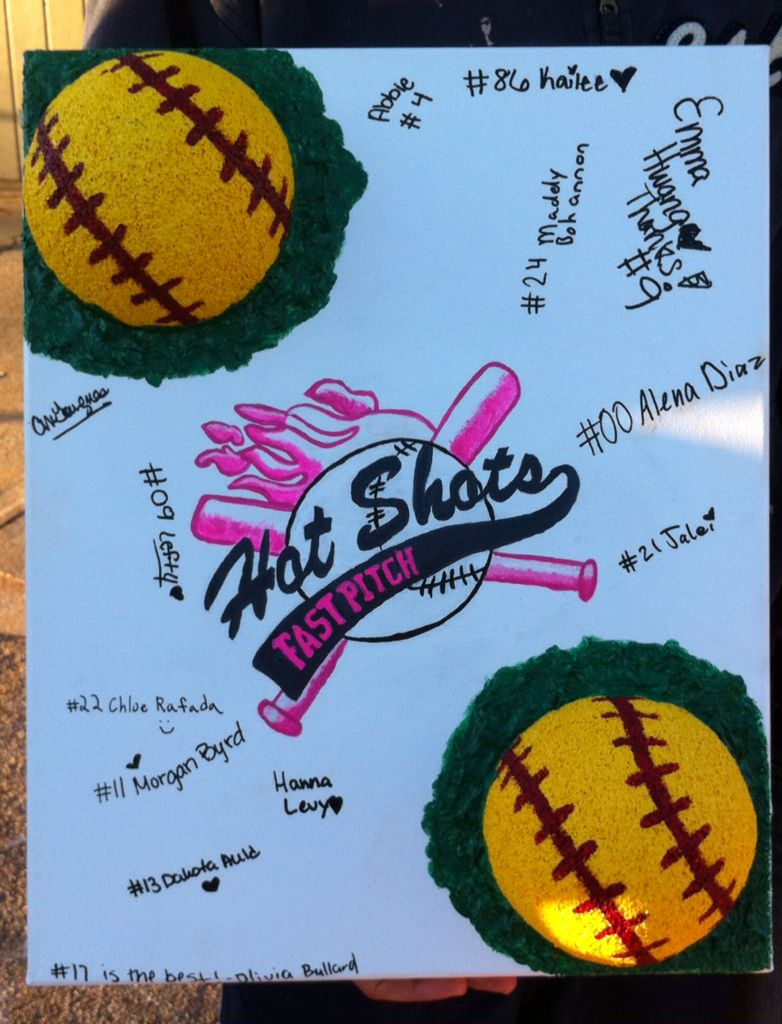 """Softball coach appreciation gift, painted on a 16x20 canvas. Softballs are a styrofoam ball cut in half & hot glued to the canvas. I used molding paste around the softballs to look like they were sitting in grass & for additional support. I drew the logo from my daughters softball shirt and painted it the same colors on the logo. Each of the softball players signed their name & number before we presented the painting to the coach. Coach John """"loved it!"""" He has never had a gift like this."""