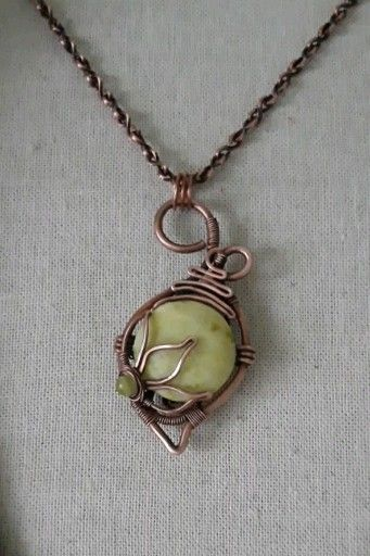 Photo of Yellow jade copper pendant,wire wrapped handmade jewelry, teardrop and flower pendant on necklace