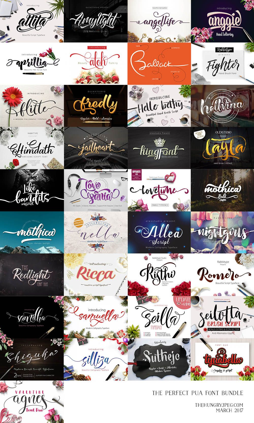 Use HOOPMAMA20 for 20 off The Perfect PUA Font Bundle by