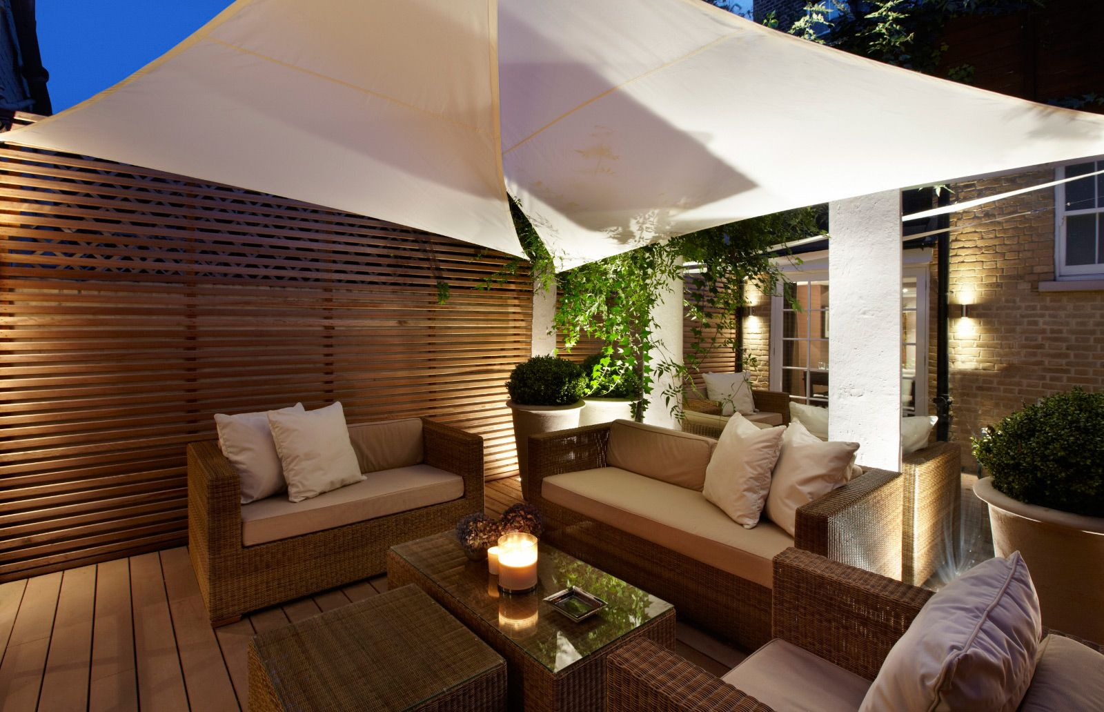 outdoor seating area. umbrella. Private Residence, South Kensington ...