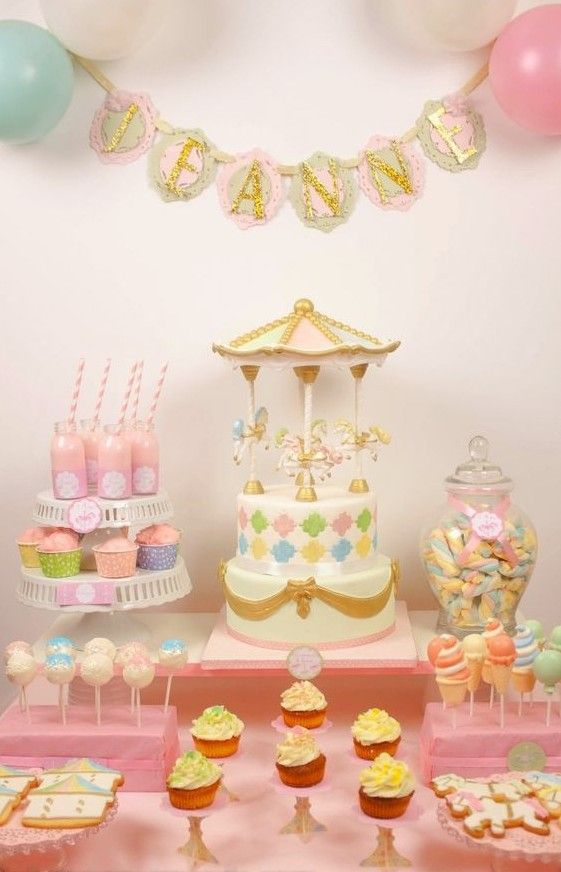 Inspiration une jolie f te de bapt me pour fille save the deco carrouse - Decoration bapteme fille ...