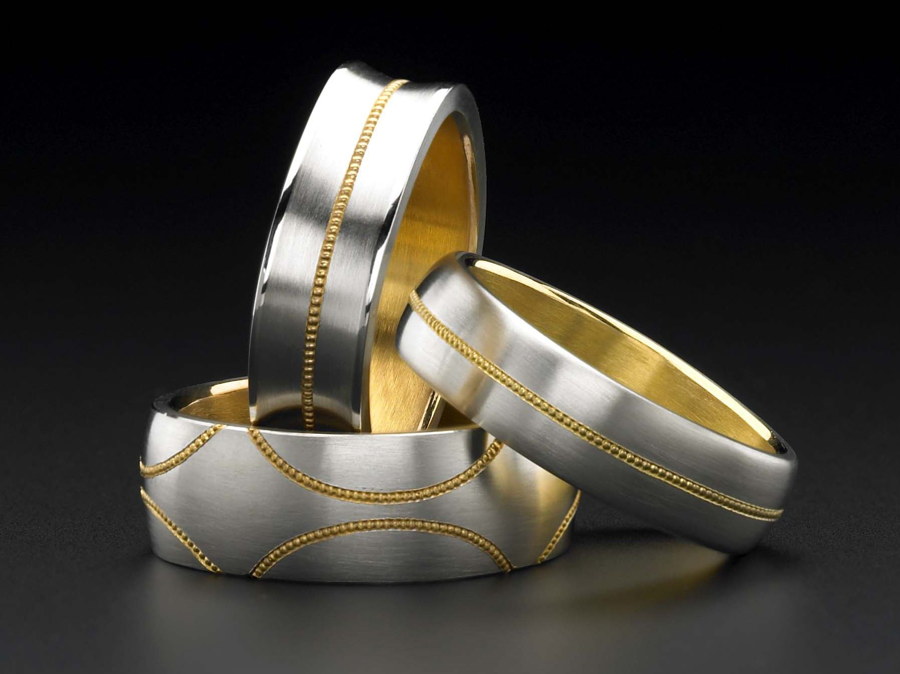 Zoltan David Gent Bands in Platinum with 24K Gold Inlay and