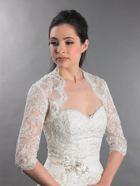 3 4 sleeve lace wedding dress   sleeve alencon lace bolero with keyhole back  Wedding boleros