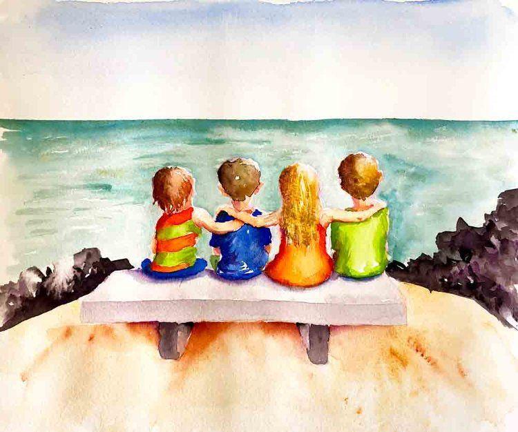 Four In A Row Watercolour Kids 10 Watercolour Friendship