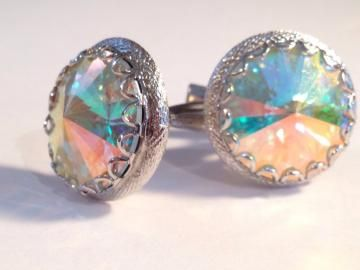 Mid Century Modern Multi Colored Chrystal & Gold Cuff Links