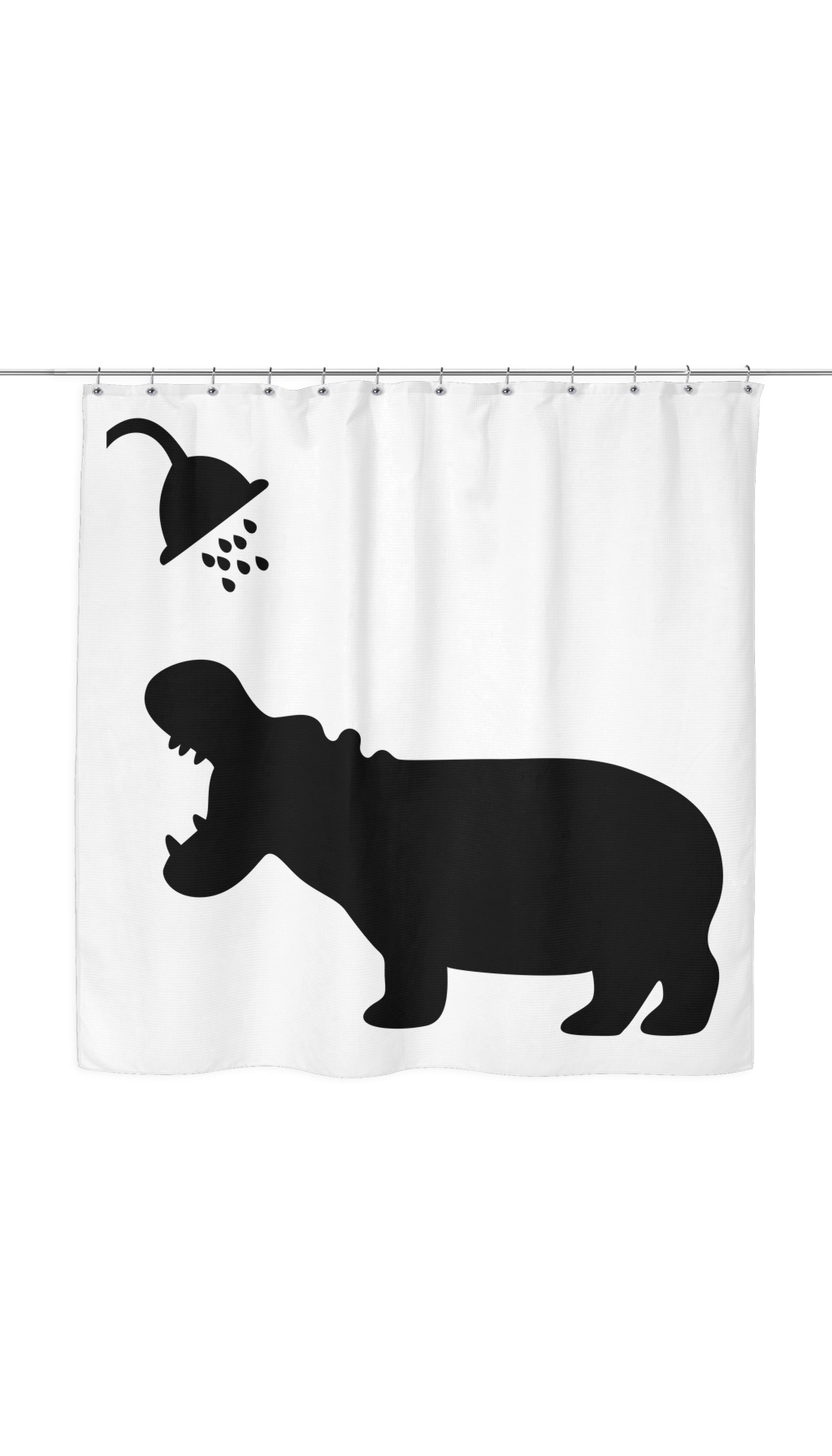 Hippo Shadow Shower Curtain Funny Shower Curtains Shower