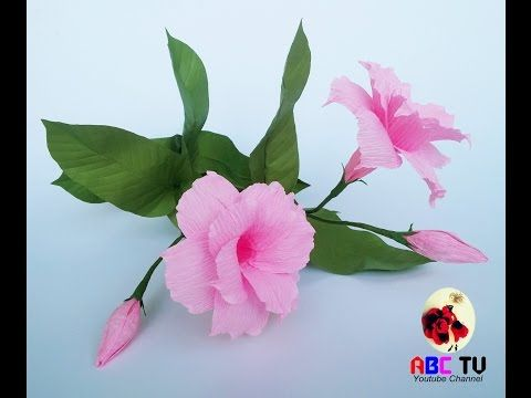 How To Make Hibiscus Flower From Crepe Paper Craft Tutorial