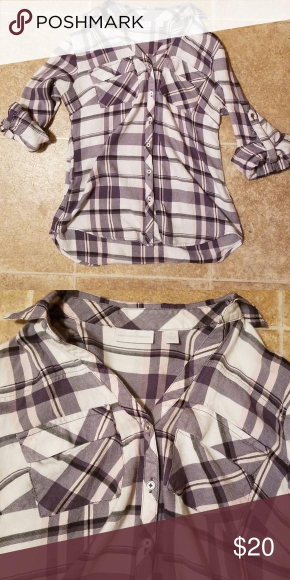 Gray plaid shirt Pretty gray, pink, white plaid  Soho soft