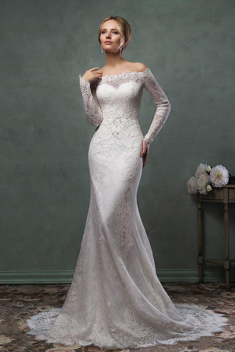 Sheer long sleeve wedding dress  Elegant Mermaid Lace Wedding Dress with Illusion Offtheshoulder
