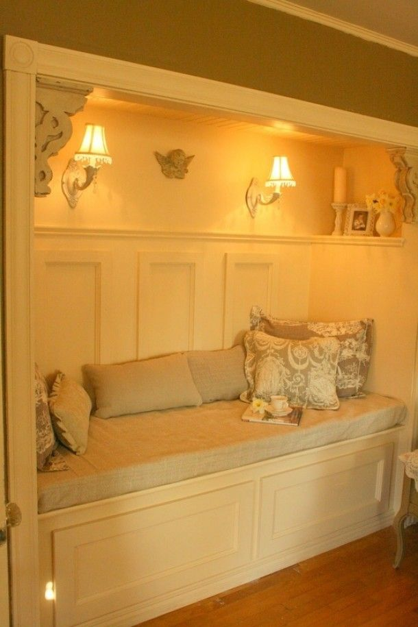Closet transformed into a nook, Doing this for Guest/spare Room ...