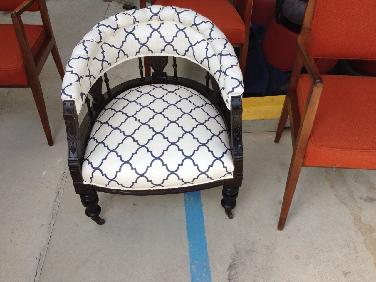 Antique tub chair - Upholstered Antique Tub Chair In Westbury Fabric Gorgeous