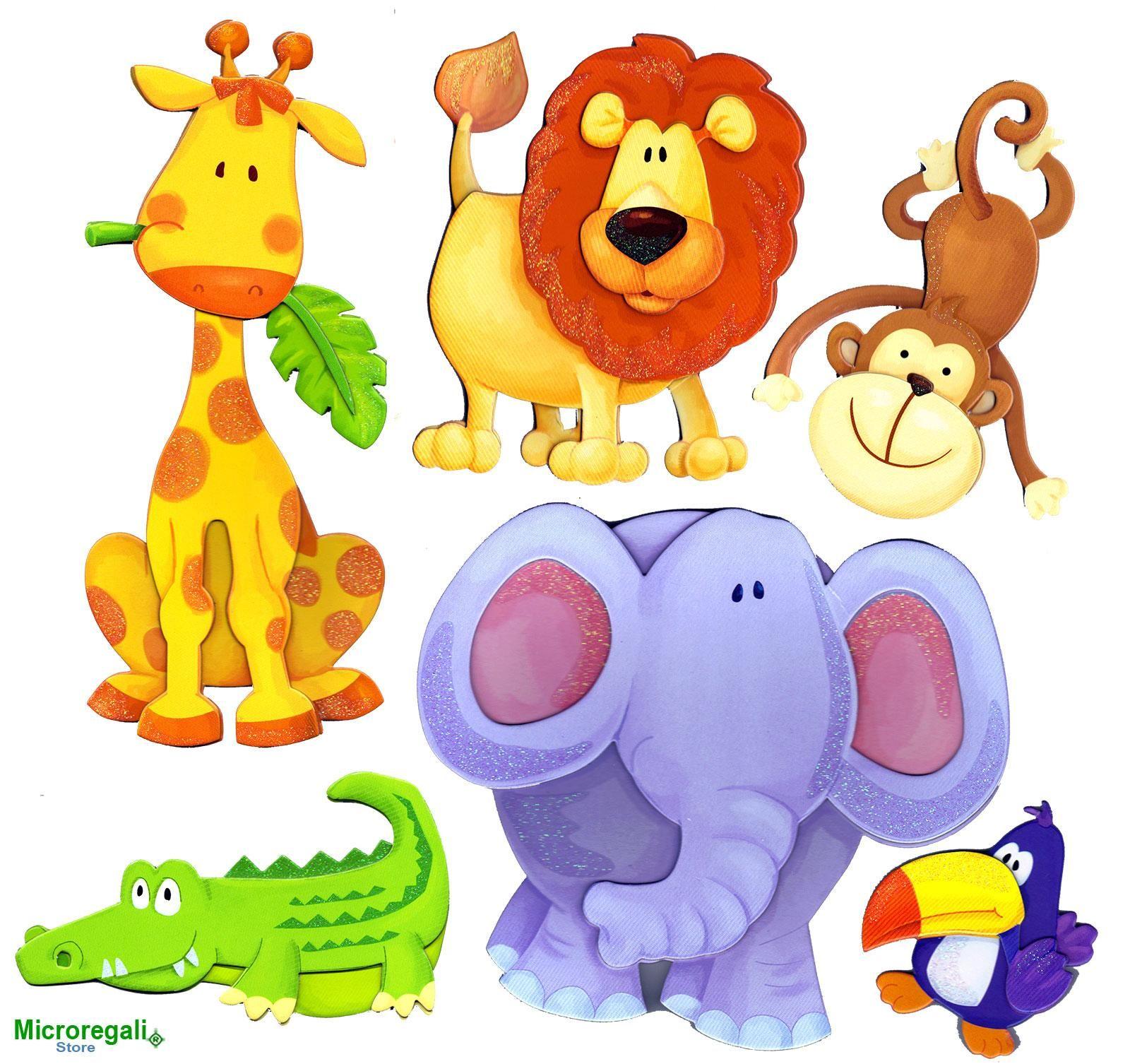 Adesivi Murali 3D ANIMALI DELLA SAVANA cm 30,5 x 30,5 per cameretta bambini.