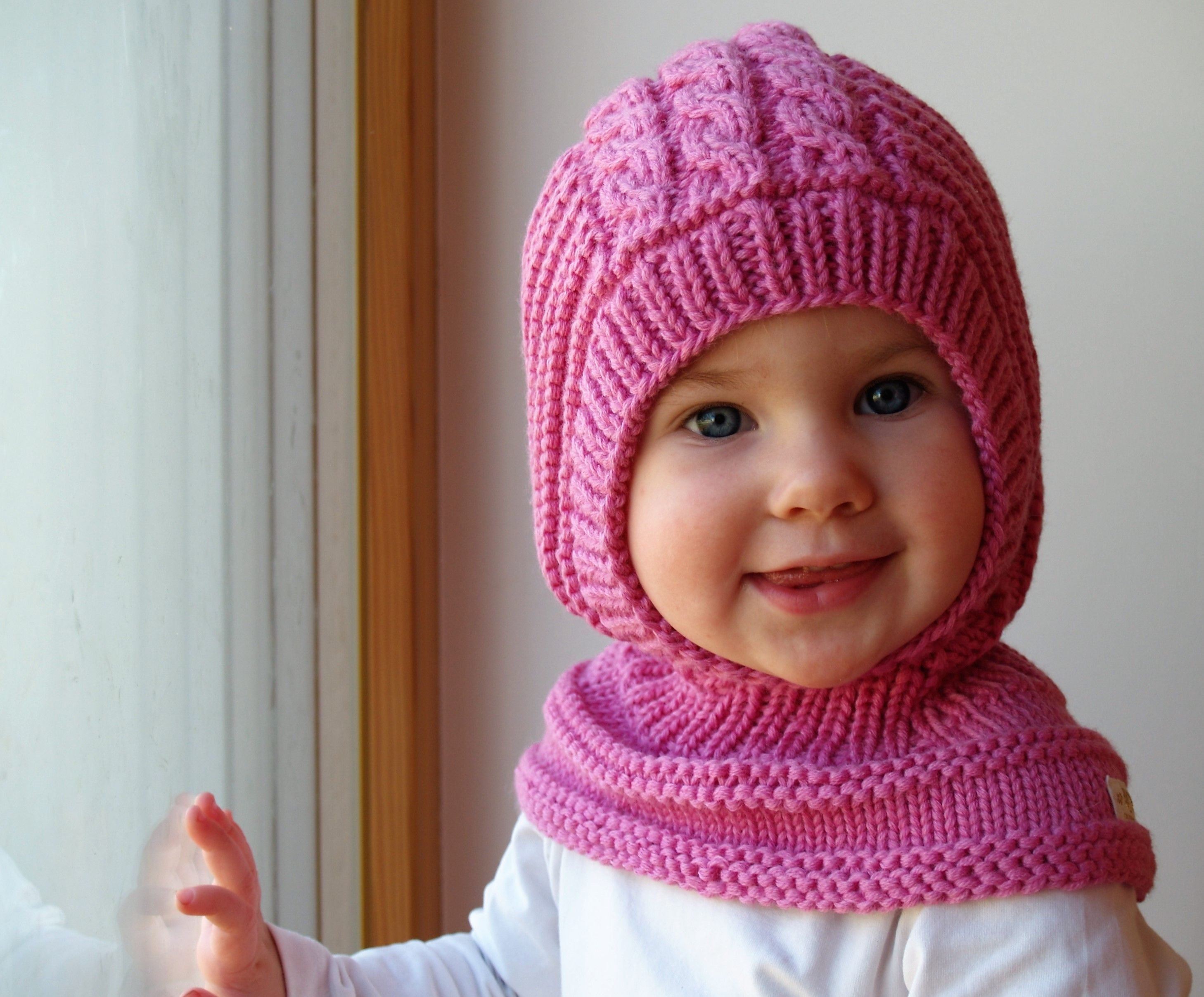 6b73c3b472f Waldorf inspired winter and snow hat. Hand knitted hoodie   balaclava hat  for baby