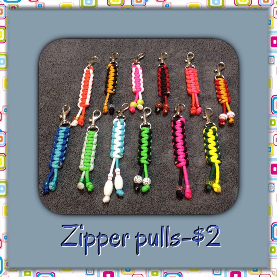 Paracord zipper pulls for my first craft fair. Kids