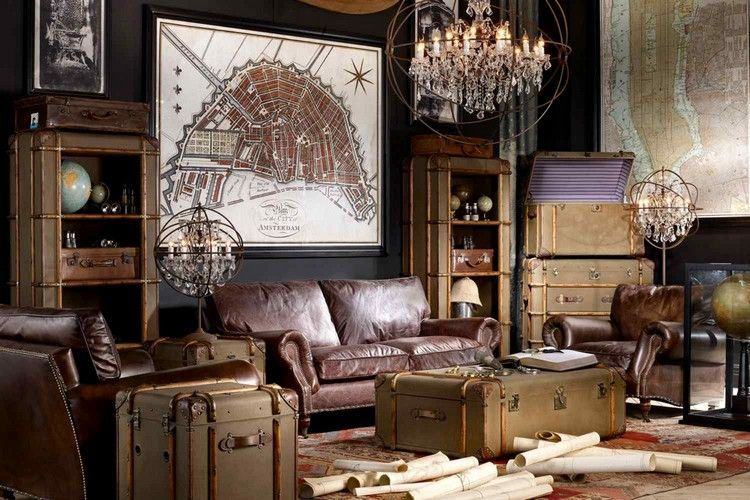 d co industrielle canap droit en cuir marron table basse fa on malle vintage et lustre en. Black Bedroom Furniture Sets. Home Design Ideas