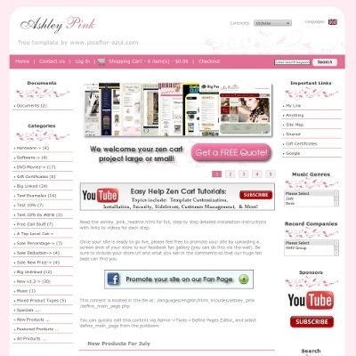 Ratings And Reviews For The Ashley Pink Zen Cart Template By Picaflor Azul Free Web Design Ecommerce Web Design Ecommerce Website Design