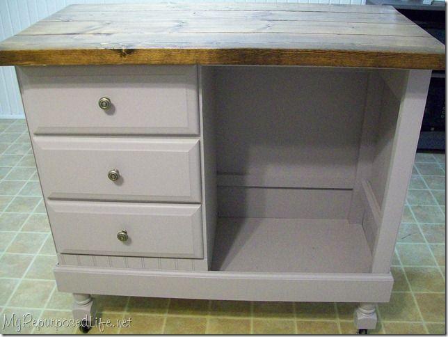 DIY Kitchen Island Bar Craft Station Out Of Old Desk