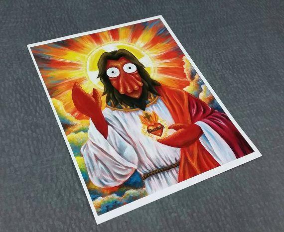 futurama zoidberg jesus portrait futurama art art print of