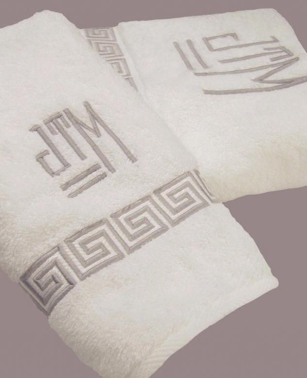 Greek Key embroidered bath towels with custom monogram.