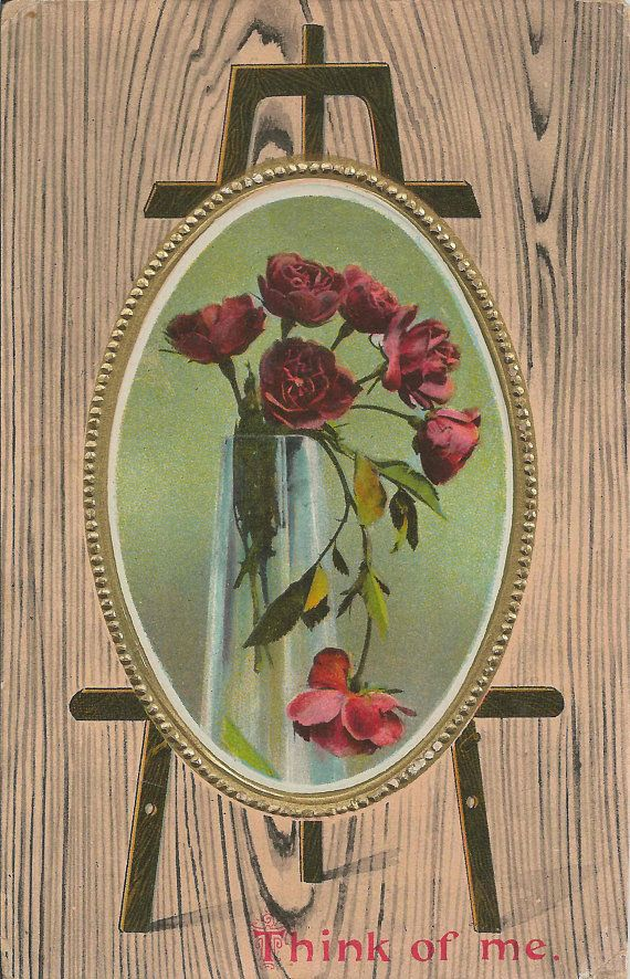 antique 1912 think of me postcard with heirloom roses in a vase