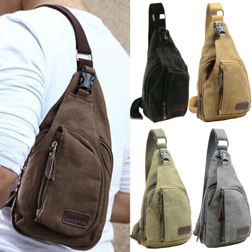 10.38 AUD - Men Women Canvas Casual Hiking Bicycle Crossbody Chest Bag  Shoulder Sling Bag  ebay  Fashion e49eada9be5da