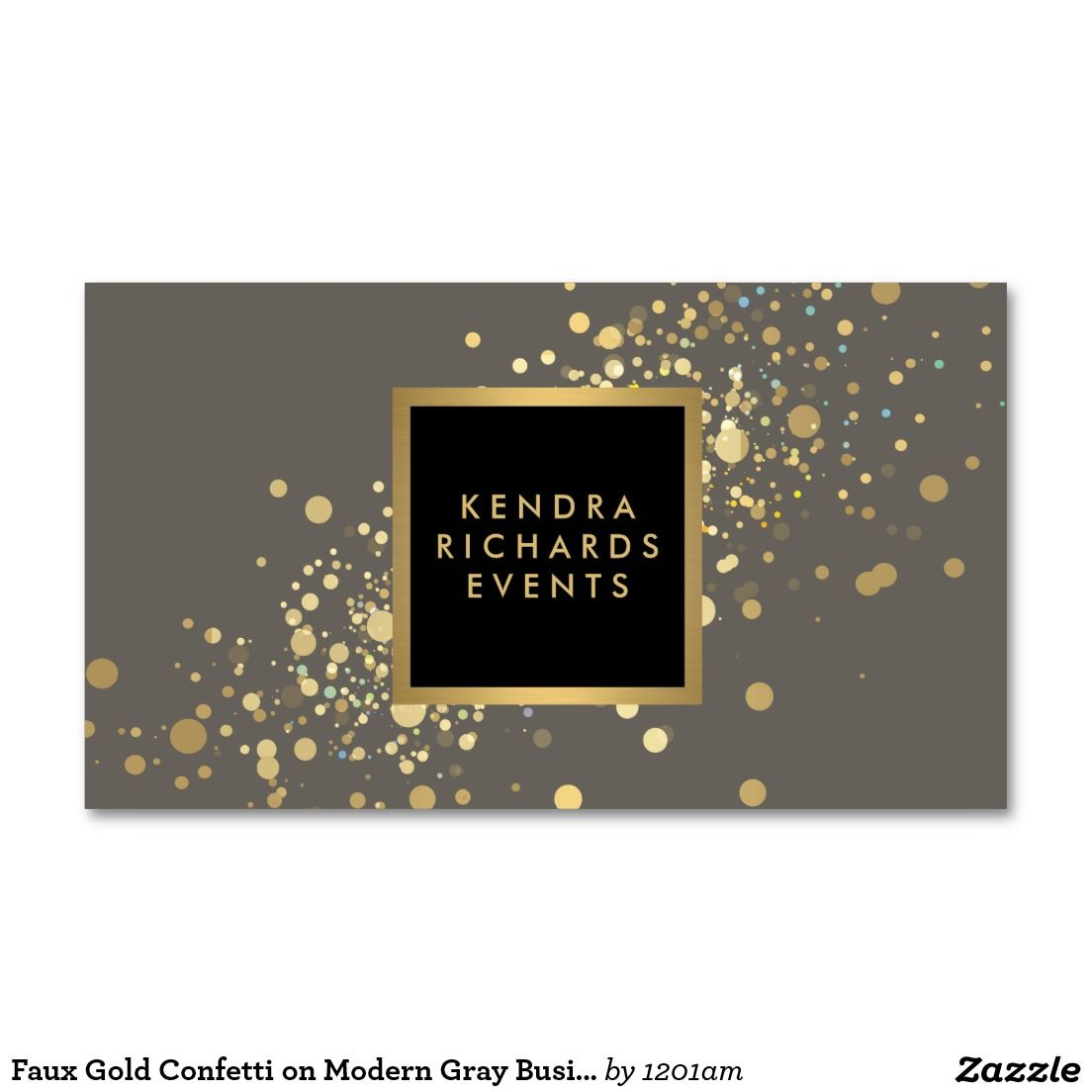 Faux gold confetti on modern gray business card cartes de visita faux gold confetti on modern gray business card reheart Choice Image