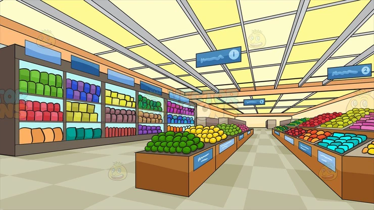 Inside A Brightly Lit Grocery Store Background Clipart Cartoons By Vectortoons Checkered Floors Grocery Store Grocery