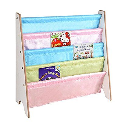 ReaseJoy Wooden Kids Book Shelf Sling Storage Rack Organizer Bookcase Display Holder Ideas for Nursery Room White  ReaseJoy £16.95