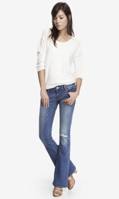 low rise destroyed slim flare jean from EXPRESS