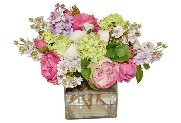 """16"""" Roses and Lilacs in Vase, Faux"""